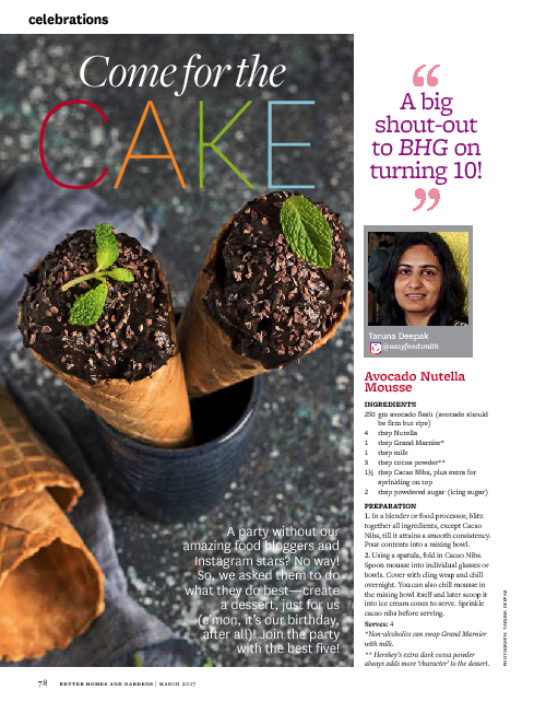 Avocado Nutella Mousse featured on the 10th Anniversary (March 2017) issue of Better Homes and Gardens